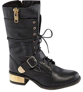 Steve Madden Lace Up black and gold Boots