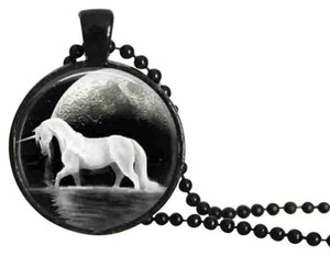 Black Glass Cabochon Unicorn Horse Necklace Free Shipping