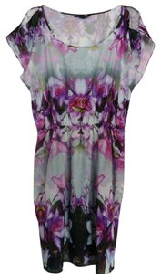 Express Flowy Watercolor Floral Lined Classic Dress
