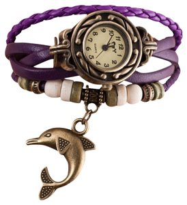 Other Purple Leather Band Bronze Quartz Dolphin Watch Free Shipping