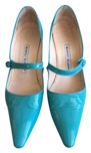 Manolo Blahnik Compari Turquoise Mary Jane Pumps