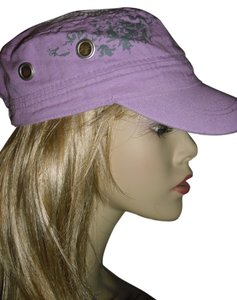 fashionista Unique purple eyelet cap, sporty screen printed lavender hat