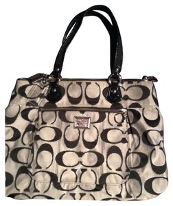 Coach Tote in Black And Silver