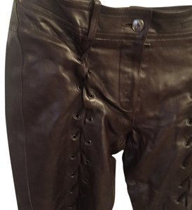 Dior Leather Vintage Goth Boot Cut Pants Chocolate Brown