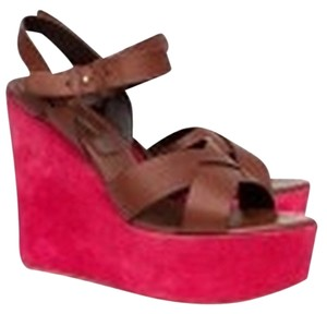 Sergio Rossi Magenta And Brown Wedges