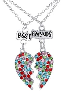 2pc Rhinestone Best Friends Necklace Set Free Shipping