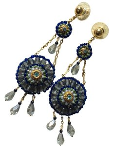 Miguel Ases Miguel Ases Blue and Gold Hand Beaded Earrings