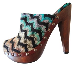 Missoni Chevron Print Heels Multi-Color Mules