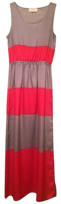 Metallic Gray And Coral Maxi Dress by Pink Rose
