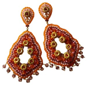 Miguel Ases Miguel Ases Pink Orange and Gold Hand Beaded Earrings.