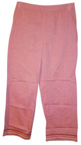 Ann Taylor Cotton Embroidered Capri/Cropped Pants Peach
