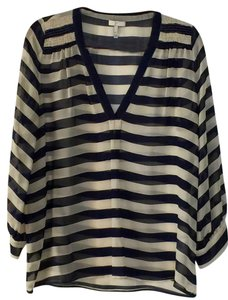 Joie Silk Stripes Top Navy Blue and Ivory