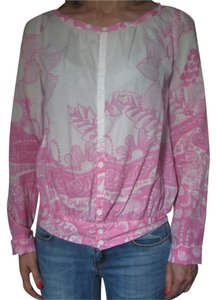 Diesel Button Down Shirt white and pink print