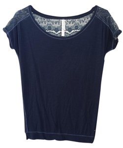 Aeropostale Lace Back T Shirt navy blue