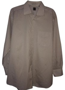 Ike Behar Button Down Men's Button Down Shirt White With Beige