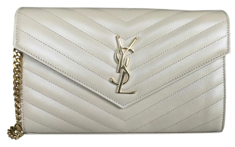 Saint Laurent Leather Monogram Quilted Ysl Nude Powder Clutch Image 0 ... b4e2b47c17914