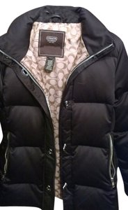 Coach Black Leather Down Jacket