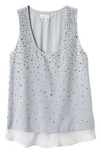 Rebecca Taylor Studded Silk Top Gray