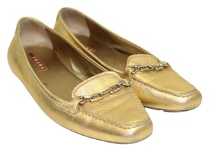 Prada Gold Leather Flats