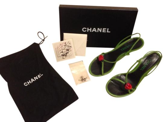 Chanel Green aw/ Red&black Lady Bug Sandals