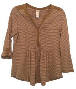 Anthropologie Casual Striped Top Brown Mustard