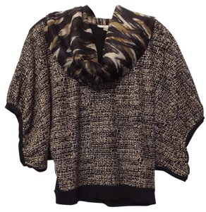 Alberto Makali Kimono Sleeve Lightweight Draped Mixed Fabrics Excellent Condiiton Top Black, white, taupe