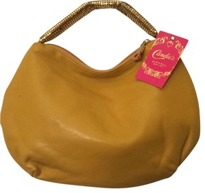 Candie's Satchel in Mustard w/ Gold Mesh Lame'