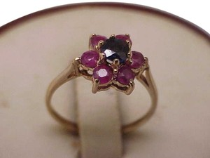 Made in Birmingham,England, Ladies Victorian 9Kt Yellow Gold Genuine Sapphire & Rubies Ring, 1800s