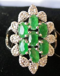 Gorgeous Natural Green Emerald, White CZ Sterling Silver Ring