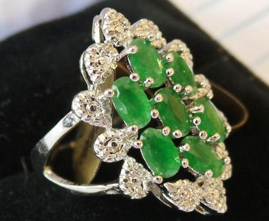 Other Gorgeous Natural Green Emerald, White CZ Sterling Silver Ring