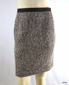 Talbots 10p Brown Wool Blend Woven Tweed Knit Straight Pencil Classic Skirt Multi-Color