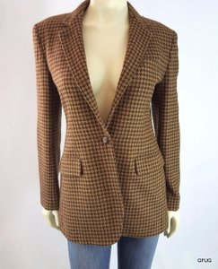 Ralph Lauren Ralph Lauren Brown Wool Alpaca Houndstooth Plaid Equestrian Hunt Blazer Jacket