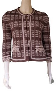 Chico's Knit Fringe Hook Closure 3/4 Sleeves Cardigan