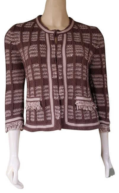 Preload https://item5.tradesy.com/images/chico-s-brown-beige-knit-hook-front-fring-sweater-jacket-04-cardigan-size-4-s-1473704-0-0.jpg?width=400&height=650