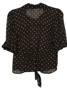 Only Mine Collared Polka Dot Top Black