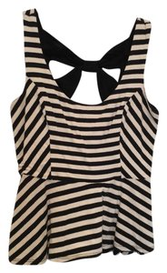 Charlotte Russe Striped Peplum Top Black and White