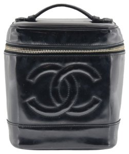Chanel Authentic CHANEL Vanity Cosmetic Bags Black Patent Leather