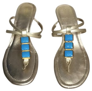 Lilly Pulitzer Gold blue Sandals