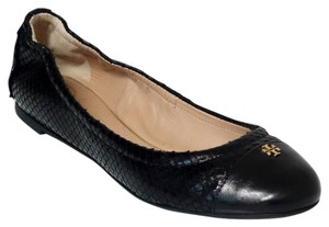 Tory Burch York Ballet Snake Print Leather Black Flats