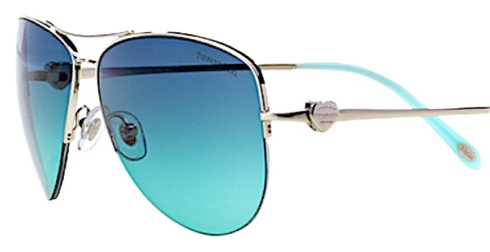 e76ef9a3ee54 Tiffany   Co. Silver Blue Gradient Lens Aviator Hearts Collection ...