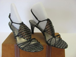 Carlos by Carlos Santana Leather Reptile Design Size 9.00 M Very Good Condition Black, Gray, Silver, Sandals