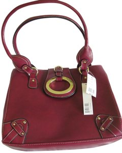 LineaR Leather Purse Satchel in Burgundy/Maroon