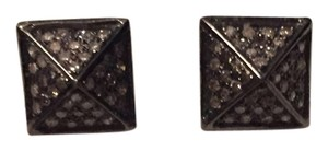 Vintage La Rose Genuine Pave Diamond Stud Earrings