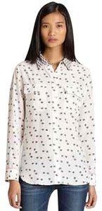 Equipment Femme White Ladybug Print Silk Button Up Long Sleeve Shirt S2 Top Multi-Color