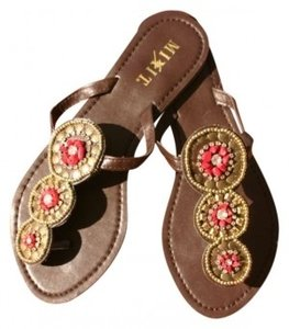 Mixit brown with gold beads and rust accents Sandals