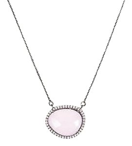 Sterling Silver Pink Chalcedony Cubic Zirconia Faceted Pendant Necklace