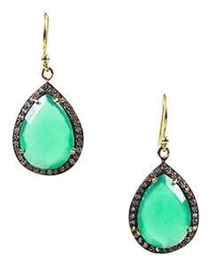 Gold Tone Emerald Green Onyx Cubic Zirconia Faceted Teardrop Hook Earrings