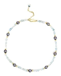 Linda Bergman 18k Yellow Gold Aquamarine Peacock Pearl Beaded Necklace