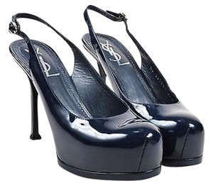 Saint Laurent Ysl Yves Navy Blue Platforms