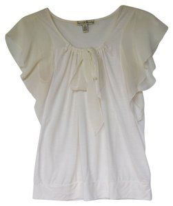 French Laundry Caplet Summer Knit Chiffon Top Cream